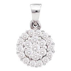 0.50 CTW Diamond Circle Flower Cluster Pendant 14KT White Gold - REF-37Y5X