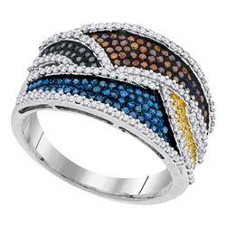 0.77 CTW Multicolor Diamond Fashion Ring 10KT White Gold - REF-75K2W