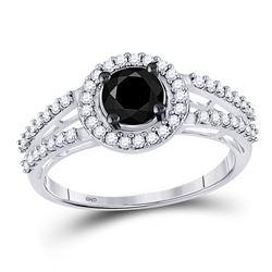 1.06 CTW Black Color Diamond Solitaire Bridal Ring 10KT White Gold - REF-34H4M