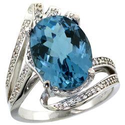 Natural 5.76 ctw london-blue-topaz & Diamond Engagement Ring 14K White Gold - REF-94F6N