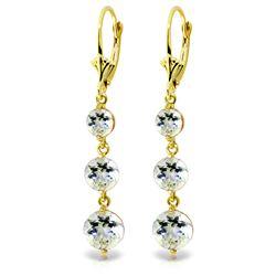 Genuine 7.2 ctw Aquamarine Earrings Jewelry 14KT Yellow Gold - REF-63F4Z