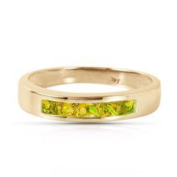 Genuine 0.60 ctw Peridot Ring Jewelry 14KT Yellow Gold - REF-46N2R