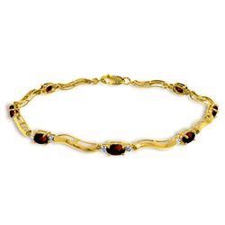 Genuine 2.01 ctw Garnet & Diamond Bracelet Jewelry 14KT Yellow Gold - REF-76F7Z