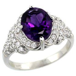 Natural 2.92 ctw amethyst & Diamond Engagement Ring 14K White Gold - REF-102W7K