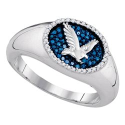 0.27 CTW Mens Blue Color Diamond Oval Cluster Eagle Ring 10KT White Gold - REF-52M4H