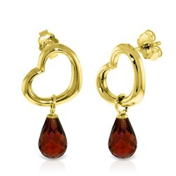 Genuine 4.5 ctw Garnet Earrings Jewelry 14KT Yellow Gold - REF-42H6X