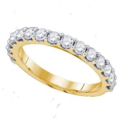 0.26 CTW Pave-set Diamond Single Row Wedding Ring 14KT Yellow Gold - REF-22W4K