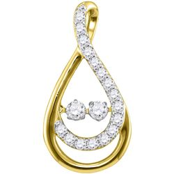 0.50 CTW Diamond 2-Stone Teardrop Pendant 10KT Yellow Gold - REF-48H7M