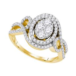 1.07 CTW Diamond Oval Halo Cluster Bridal Engagement Ring 10KT Yellow Gold - REF-134M9H