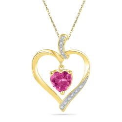 1.8 CTW Created Ruby Heart Love Pendant 10KT Yellow Gold - REF-13F4N