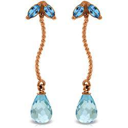 Genuine 3.4 ctw Blue Topaz Earrings Jewelry 14KT Rose Gold - REF-21V6W