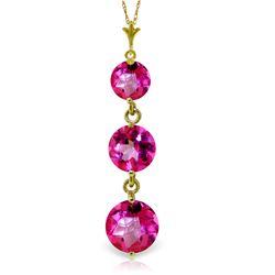 Genuine 3.6 ctw Pink Topaz Necklace Jewelry 14KT Yellow Gold - REF-24Z4N