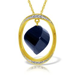 Genuine 15.35 ctw Sapphire & Diamond Necklace Jewelry 14KT Yellow Gold - REF-124F2Z