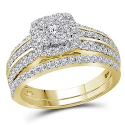1.05 CTW Diamond Bridal Wedding Engagement Ring 14KT Yellow Gold - REF-104N9F