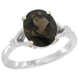 Natural 2.41 ctw Smoky-topaz & Diamond Engagement Ring 10K White Gold - REF-24V6F