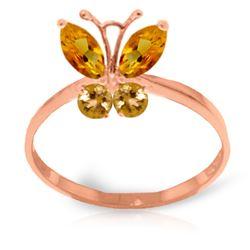 Genuine 0.60 ctw Citrine Ring Jewelry 14KT Rose Gold - REF-28F9Z