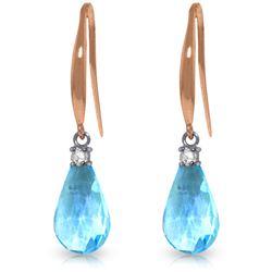 Genuine 4.6 ctw Blue Topaz & Diamond Earrings Jewelry 14KT Rose Gold - REF-28H8X