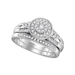 0.38 CTW Diamond Halo Bridal Engagement Ring 10KT White Gold - REF-52H4M