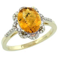 Natural 1.85 ctw Whisky-quartz & Diamond Engagement Ring 14K Yellow Gold - REF-38H3W
