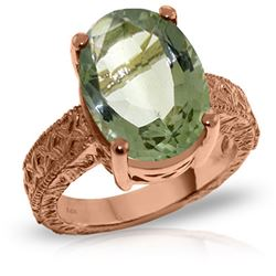 Genuine 7.5 ctw Green Amethyst Ring Jewelry 14KT Rose Gold - REF-125A9K