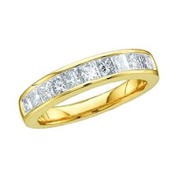 0.50 CTW Princess Channel-set Diamond Single Row Ring 14KT Yellow Gold - REF-44K9W