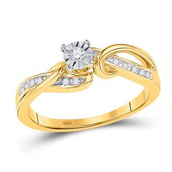 0.12 CTW Diamond Solitaire Bridal Engagement Ring 10KT Yellow Gold - REF-19H4M