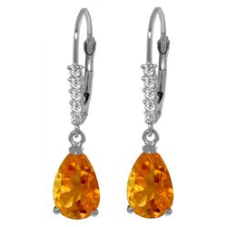 Genuine 3.15 ctw Citrine & Diamond Earrings Jewelry 14KT White Gold - REF-44K3V