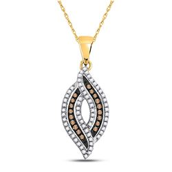 0.33 CTW Black Color Diamond Oval Pendant 10KT Yellow Gold - REF-19N4F