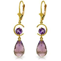 Genuine 11 ctw Amethyst Earrings Jewelry 14KT Yellow Gold - REF-46P7H