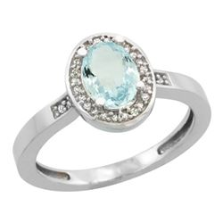Natural 0.79 ctw Aquamarine & Diamond Engagement Ring 14K White Gold - REF-33G6M
