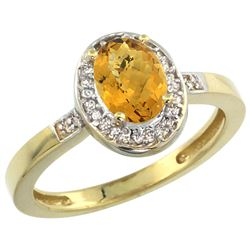 Natural 1.08 ctw Whisky-quartz & Diamond Engagement Ring 10K Yellow Gold - REF-25H2W