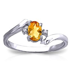 Genuine 0.46 ctw Citrine & Diamond Ring Jewelry 14KT White Gold - REF-28Y3F