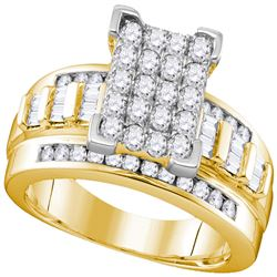 2 CTW Diamond Cluster Bridal Engagement Ring 10KT Yellow Gold - REF-118K3W