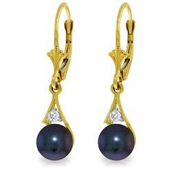 Genuine 4.06 ctw Black Pearl & Diamond Earrings Jewelry 14KT Yellow Gold - REF-40W5Y