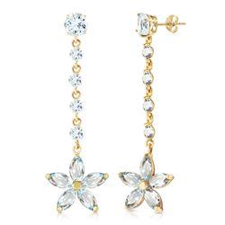 Genuine 4.8 ctw Aquamarine Earrings Jewelry 14KT Yellow Gold - REF-68H4X