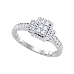 0.38 CTW Princess Diamond Cluster Bridal Engagement Ring 14KT White Gold - REF-33W7K