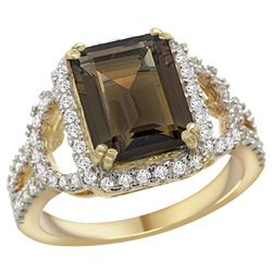 Natural 3.08 ctw smoky-topaz & Diamond Engagement Ring 14K Yellow Gold - REF-106Z3Y