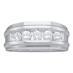 0.25 CTW Diamond Mens Channel-set Classic 7mm Wedding Ring 14k White Gold - REF-44F9N