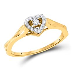 0.10 CTW Diamond Heart Love Promise Bridal Ring 10KT Yellow Gold - REF-12F8N