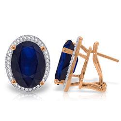 Genuine 13.16 ctw Sapphire & Diamond Earrings Jewelry 14KT Rose Gold - REF-194Z4N