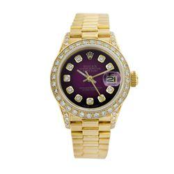 Rolex Pre-owned 26mm Womens Purple Vignette 18K Gold - REF-1140W3Y