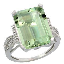 Natural 12.14 ctw green-amethyst & Diamond Engagement Ring 10K White Gold - REF-53H2W