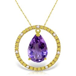 Genuine 6.6 ctw Amethyst & Diamond Necklace Jewelry 14KT Yellow Gold - REF-52H9X