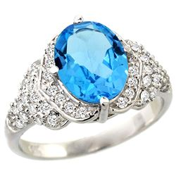 Natural 2.92 ctw swiss-blue-topaz & Diamond Engagement Ring 14K White Gold - REF-102M7H