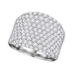 3.85 CTW Pave-set Diamond Wide Fashion Ring 14KT White Gold - REF-449F9N
