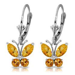 Genuine 1.24 ctw Citrine Earrings Jewelry 14KT White Gold - REF-38K2V