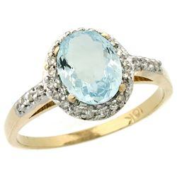 Natural 1.13 ctw Aquamarine & Diamond Engagement Ring 10K Yellow Gold - REF-29N7G