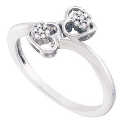0.05 CTW Diamond Double Heart Love Bypass Ring 10KT White Gold - REF-14X9Y