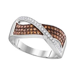 0.33 CTW Cognac-brown Color Diamond Crossover Ring 10KT White Gold - REF-26F9N