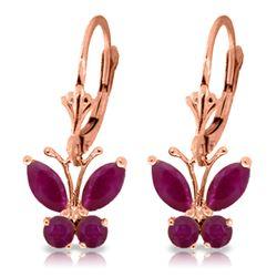 Genuine 1.24 ctw Ruby Earrings Jewelry 14KT Rose Gold - REF-41Y6F